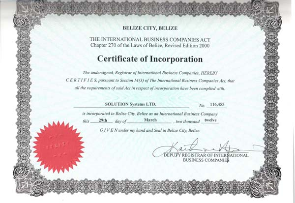 Company sertificate of inc